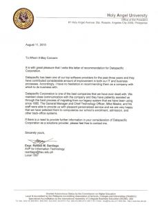 recommendation from holy angel university letter of recommendation from holy angel university